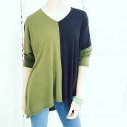 Camiseta bicolor ancha...